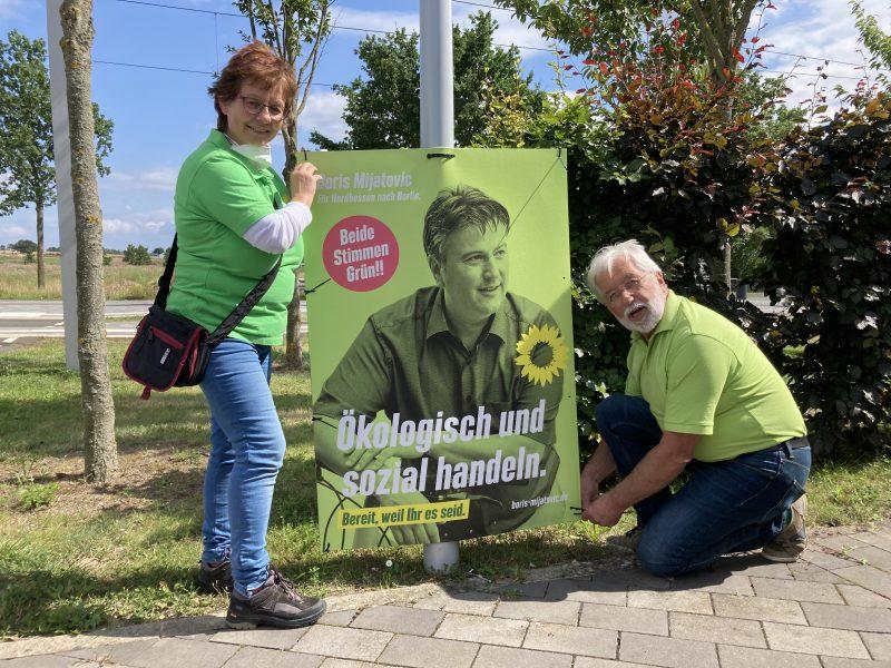 Plakat Boris Mijatovic, Unterstützer Siggi und Team in Vellmar, August 2021